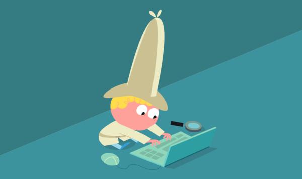 Flo sitzt bei seinem Laptop und schreibt die Tipps für Energie-Detektive zusammen, die du im nächsten Kapitel findest.